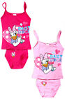 NEW Girls Disney Daisy Duck Pink Hearts 2 Piece Vest & Pants Underwear Set 3-8yr