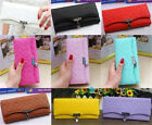 Handy Classical PU Leather Button Clutch Purse Lady Long Handbag Women Wallet FD