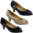 NEW WOMENS LADIES WORK OFFICE PEEPTOE LOW MID KITTEN HEEL COURT SHOES PUMPS SIZE