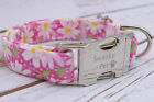Designer Dog Puppy Collar -  All Sizes - Pink Daisy Print - Exclusive