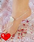 Swarovski Clear AB Crystal AMORE Love Heart Barefoot Sandals handcrafted 1 pair