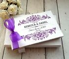 WEDDING GUEST BOOK PERSONALISED + FREE BOX ~ ROCOCO ORNATE SWIRL COLOUR ~ GIFT