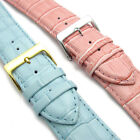 Apollo Leather Replacement Watch Strap Padded Croc Grain 24mm Pink or Light Blue