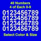 "0-9 Numbers Vinyl Sticker Decals - Set of 40 - Select Color & Size 1/2"" thru 4"""