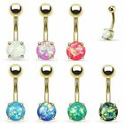 Gold Opal Glitter Belly Button Ring Navel Bar Surgical Steel Non-Dangle 14g