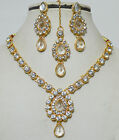 Indian Bollywood Gold Plated Stones Kundan Necklace Earrings Ethnic Jewelry Set