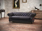 Brand New 3 Seater Studded Flag Chesterfield Brown Leather Sofa