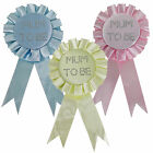 "Baby Shower Diamante ""Mum to Be"" Rosette Badge - Pink Blue or Yellow"