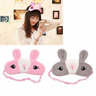 Cute Rabbit Bunny Eyes Mask Plush Cotton Travel Sleep Blindfold Pink Grey Gift