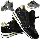 LADIES RUNNING TRAINERS WOMENS FITNESS GYM SPORTS GLITTER STUD LACE UP SHOES SZ