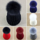 Women Real Fox Fur Detachable Pom Pom Braided Knitted Hat Beanie Stock Clearance