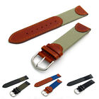 Nylon Webbing and Real Leather Watch Strap Band 18mm 20mm Choice of colours