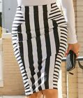 NEW CELEB STYLE WOMENS BLACK WHITE STRIPE SLIMMING EFFECT PENCIL MIDI SKIRT 8-14