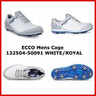 New Ecco Mens Golf Cage shoes Spike White / Royal EU 39 40 41 42 43 $200