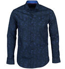 Guide London Mens Abstract LS73363 Floral Print LS Wedding Party Shirt Navy