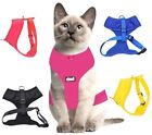 Cat Harness Waterproof Padded Adjustable Front & Back Ring Blue Red Pink Yellow