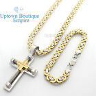 """24"""" mens stainless steel Gold Silver cross pendant box chain necklace bracelet 1"""