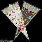 Party Cone Bags & Ties Clear / Coloured Cello Treat Bag Plastic Candy Sweet Gift