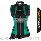 Steampunk Overbust Gothic Full Steel Bone Black Green Satin Bolero Jacket Corset