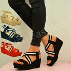 NEW WOMENS HIGH HEELS WEDGE LADIES PLATFORM SANDALS STRAPPY SHOES SIZE UK 3-8