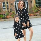 New Fashion Mother daughter Dresses FAMILY dress Women Girl Star black dress