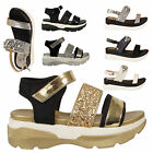 Ladies Glittery Sports Wedge Womens Gladiator Summer Beach Sandals Shoe Open Toe