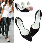 AnnaKastle New Womens Faux Suede Pointed Toe Kitten Heel Pumps US 5 6 7 8