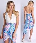 White Blue Pink Purple Floral Lace Halter V Neck Asymmetric Mini Midi Dress NWT