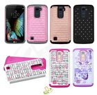 For LG K10 Hybrid BLING Diamonds Shockproof Rubber Hard Protective Case Cover
