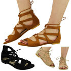 NEW WOMENS LADIES LOW FLAT HEEL CUTOUT STRAPPY LACE UP ZIP SANDALS SHOES SIZE