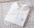 New Women Casual Long Sleeve Shirt Little Swan Embroidered Oxford Tops Shirt