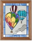 "Silver Creek Hot Air Balloon ~ 13.5"" x 16.5"" Sport Art Glass Suncatcher & Chain"