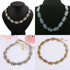 Multi-color Charm Gold/Silver Plated Full Crystal Bib Pendant Chain Necklace