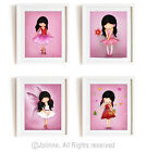 Girls room decor wall art kids bedroom art set of 4 posters unframed nursery art