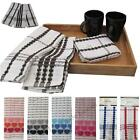 Kitchen Dish Cloths Tea Towels Pack Set Terry Cotton Large Cleaning Check Stripe
