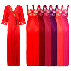 WOMENS SATIN LACE LADIES LONG NIGHTDRESS NIGHTY CHEMISE LACE DETAILED 12-22