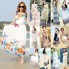 Women Boho Beach Summer Chiffon Floral Sundress Long Maxi Evening Party Dress