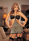 Sexy Leopard Print Chemise Garters G-string & Stockings One Size Shirley 96243