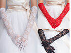 NEW WOMEN LONG SHORT 3 COLOR FORMAL GLOVES BRIDAL LACE GLOVE WEDDING PROM GLOVES