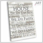 Canvas Print - Our House Rules Shabby Chic Framed Wall Art Or Unframed Picture