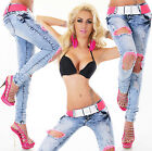 Sexy Women's Wash Blue Skinny Slim Stretchy Jeans Trousers  Incl. Belt H 003