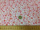 FLORAL poly cotton fabric * RED MEADOW * FLOWER PRINT material