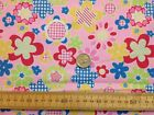 FUNKY FLOWER POWER HIPPIE RETRO HEARTS - PINK / LARGE FLOWERS  POLYCOTTON FABRIC