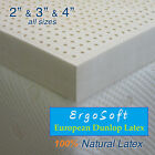 "NEW 3 Inch ErgoSoft 100% Natural Latex Pad Topper - KING 76"" x 80"", 3 Densities"