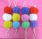 "LOT OF 6,12,24--3 BALL 8"" LONG BATH BALL WITH 2 ROPE MESH BALL, EXFOLIATE-AD2002"