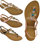 Ladies Slingback Womens Gladiators Diamante Flat Toe Post Summer Sandals Shoes