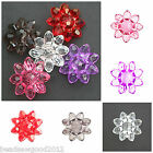 15 CLEAR LUCITE ACRYLIC FACETED FLOWER BEAD BUTTONS 21mm Jewellery Crafts