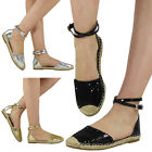 NEW WOMENS LADIES LOW FLAT HEEL ANKLE STRAP BUCKLE ESPADRILLES SHOES SANDALS SZ