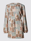 M&S garden print tunic top~Pink/blue/taupe~Long sleeve~18 20 22 24~New~was £39
