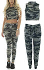 Womens Camouflage Army Sleeveless Crop Top Ladies Bottoms Loungewear Tracksuit